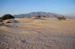 Death Valley landscape in USA. Death Valley dunes of sand and mountains under warm light Stock Photos