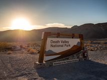 Death Valley National Park, Mojave Desert road sigh, California, USA: The hottest place on the planet Earth. Death Valley, Mojave Desert road, California, USA stock image