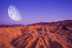 Death Valley Moon Night Stock Photo