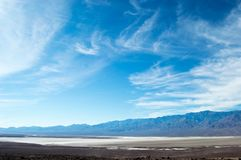 Death Valley National Park Bad Water Basin From Afar Royalty Free Stock Image