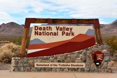 Sign at the entrance to Death Valley National Park royalty free stock photos