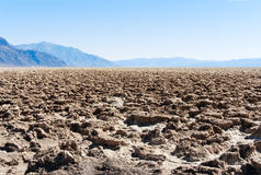 Death Valley National Park: Devil's Golf Course. With blue skies Royalty Free Stock Photo