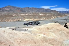 Death Valley National Park - Parking at Zabriskie point Stock Image