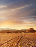 Death valley. Panoramic view death valley with some mountains on the back during sunset Royalty Free Stock Photo