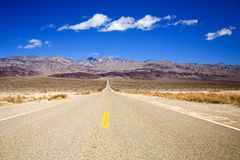 Death Valley Raod. Shot of a desolate roadway in the desert of Death Valley, California royalty free stock photography