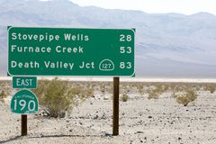 Death Valley Road Sign Stock Photo