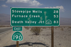 Death Valley Road Sign Stock Images