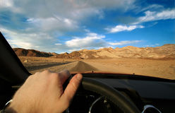 Death Valley road trip. Death Valley seen from driver's perspective Royalty Free Stock Photos