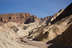 Death Valley's Golden Canyon. Death Valley Is a desert located in California. It is the lowest, driest and hottest valley in the United States royalty free stock photo