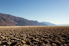 Death Valley Salt Flat Formations. Afternoon sun lights up the desert in Death Valley. The salt flat formations are unique to this location and are incredible Royalty Free Stock Images
