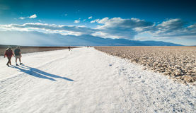 Death valley salt flats walking Stock Photography