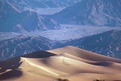 Death Valley Sand Dunes. With a lone photographer Stock Photos