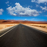 Death Valley straight road in desert National Park Stock Photography