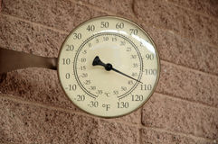 Death valley temperature. Circular thermometer showing temperature in Fahrenheit and centigrade Stock Photos