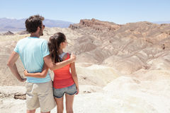 Death Valley tourists in California enjoying view Royalty Free Stock Photo