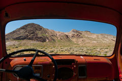 Death Valley through a window. A view of Death Valley through a pick up truck window Royalty Free Stock Photos
