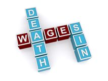 Death, wages and sin spelled in blocks Stock Photos