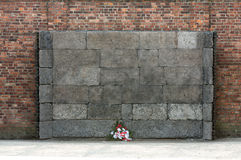 The Death Wall, Auschwitz-Birkenau concentration camp Royalty Free Stock Photos