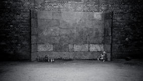 Death Wall at Auschwitz Concentration Camp Royalty Free Stock Photos