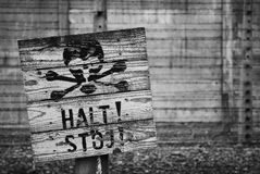 Death warning sign in Auschwitz Royalty Free Stock Image