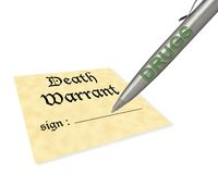 Death warrant drugs Stock Photography