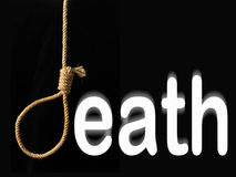 Death. Word death, where the letter d, is a hangman's noose Stock Image