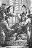 Death of Wycliffe. Line drawing of the death of pioneering English Bible Translator and Reformer, John Wycliffe Stock Photo