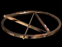 Deathly Hallows sign. Symbol of Deathly Hallows made of gold Stock Image