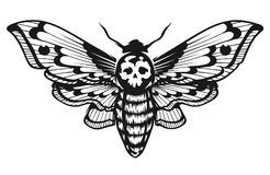 Deaths Head Hawk Moth. Vector illustration isolated on white. Tattoo style graphic design. Black and white vector art Royalty Free Stock Photo