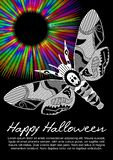 Deaths head hawkmoth on halloween flyer on black background with rainbow psychedelic circle rays. Vector flyer template stock illustration