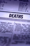 Deaths Notice. Collum in a newspaper stock image