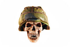 Deathskull. Whit soldierhelmet, isolated on white Royalty Free Stock Images