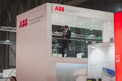 Deatil of ABB stand at Solarexpo 2014 in Milan, Italy Stock Image