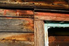 Deatil av riden ut trä och målarfärg Arkivfoto