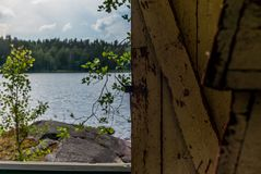 Deatil of an old wooden changing cabin on the shore of the Saimaa lake in Finland - 6 stock image