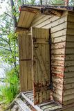 Deatil of an old wooden changing cabin on the shore of the Saimaa lake in Finland - 4 royalty free stock photos