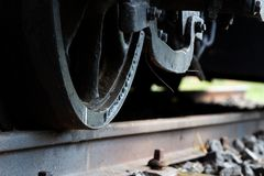 Deatils of an old narrow-gauge railway engine exhibited in Nagycenk, Hungary stock photography