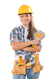 Deautiful female worker isolated on white Royalty Free Stock Images