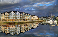 Deauville, France. City of Deauville, France, boats in harbour and houses Royalty Free Stock Photography