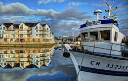 Deauville, France. City of Deauville, France, boats in harbour and houses Stock Image