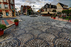 Deauville, France. City of Deauville, France, main square and fountain Royalty Free Stock Photography