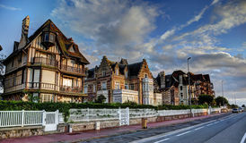 Deauville, France. City of Deauville, France, road with french houses Royalty Free Stock Photography