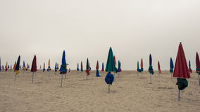 Deauville, France. The famous beach in Deauville, Normandy, France, Europe, the Earth Royalty Free Stock Photos