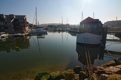 Yacht in the port of Deauville, Calvados departement in the Normandy region in France. Early morning view stock photo