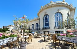 Brummel is an elegant brasserie at famous Barri re Casino Deauville in Normandy, France. Deauville, Normandy, France - July 14,2018: Brummel is an elegant stock photography