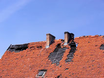 Deavastated roof Stock Images