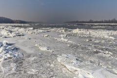 Debacle. Danube river wintertime, with icy riverbank Stock Image