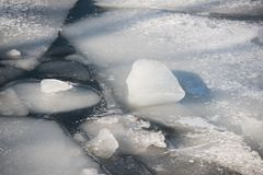 Debacle. Ice debacle at a spring day in March in Stockholm stock photo