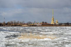 Debacle on the Neva river Stock Image
