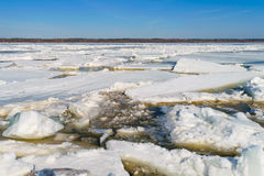 Debacle river in the spring. Floating of ice Volga river in Russian, Chuvash Royalty Free Stock Photo